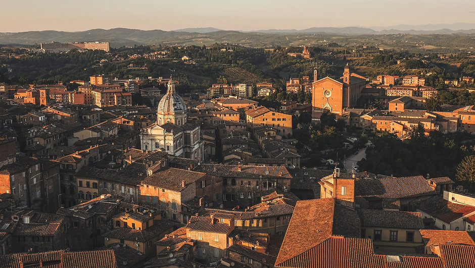 Arial view of Siena, Italy.