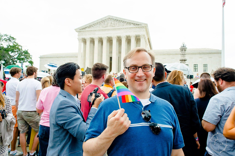 Ben Finzel at the Supreme Court the day the equal marriage ruling was announced in June 2015
