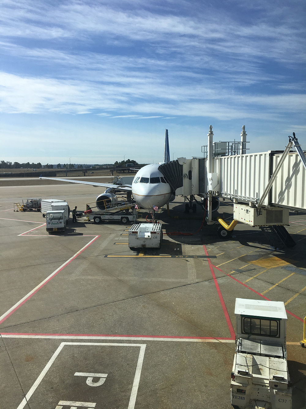 United Airlines plane at the gate in Houston