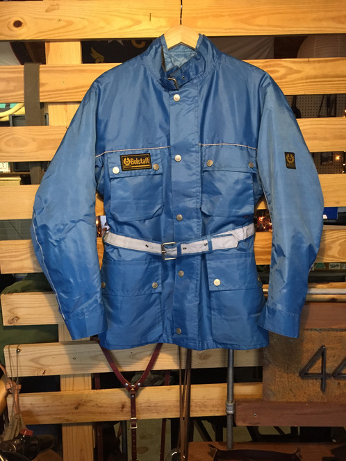 03a8d970b2f Vintage nylon Belstaff Trialmaster in a rare blue color. Removable quilted  lining. Excellent condition. Men's size Medium.