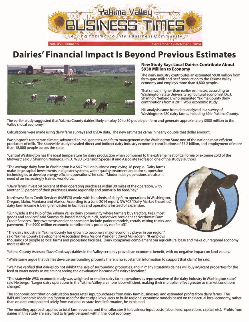 Dairies financial impact