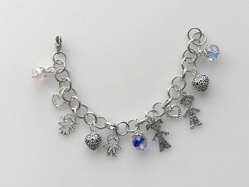 J&J-206-Pink and Blue Crystal Link Bracelet