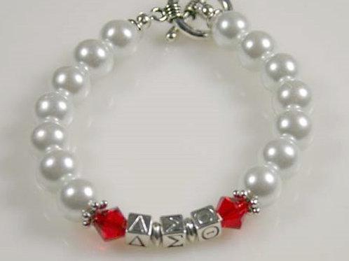DST-206- White Pearl & Crystal Bracelet