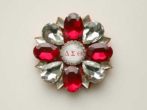 DST-300- Red and Clear Crystal Brooch