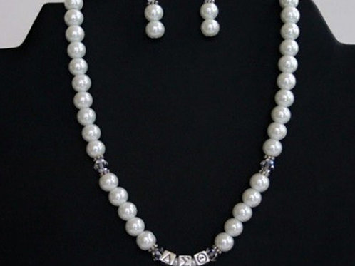 DST-102-Glass Pearl Necklace and Earring Set