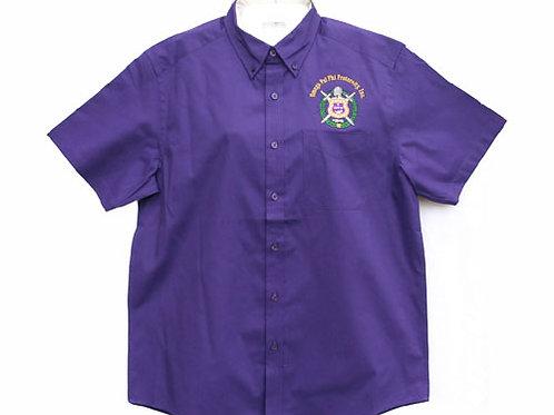 OPP-003-Button Collar Shirt-Purple (Short Sleeve)