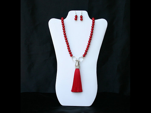DST-114-Red Tassel Necklace and Earring Set