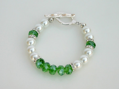 CSI-205-Green Crystal/White Pearl Bracelet