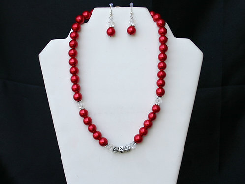 DST-103-Red Glass Pearl Necklace and Earring Set