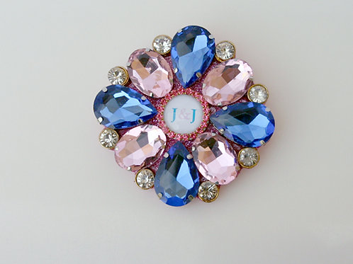 J&J-300-Blue and Pink Crystal Brooch