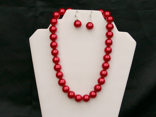 DST-105-Large Glass Pearl Necklace & Earring Set