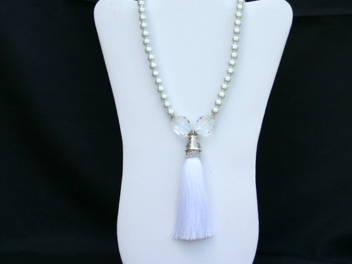 CSI-105-White Tassel Necklace and Earring Set