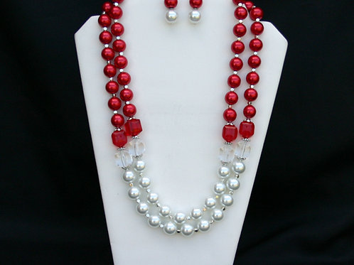 CSI-103- Double Strand Cube Necklace and Earring Set