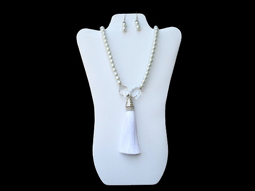 DST-113-White Tassel Necklace and Earring Set