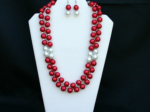 CSI-107- Double Strand Necklace and Earring Set