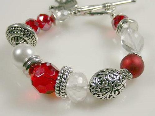 DST-207- Red & Silver Chunky Bracelet