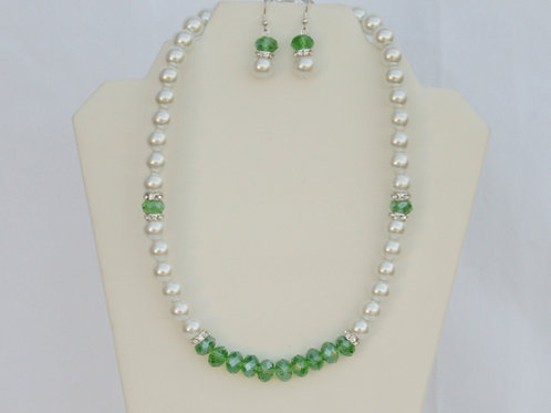 CSI-101-White Pearl & Green Crystal Necklace & Earring Set
