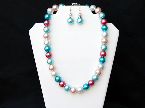 J&J-102- Multi Color Pearl Necklace and Earring Set