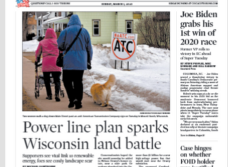 Sunday Chicago Tribune, Front page!  Power line plan sparks WI land battle