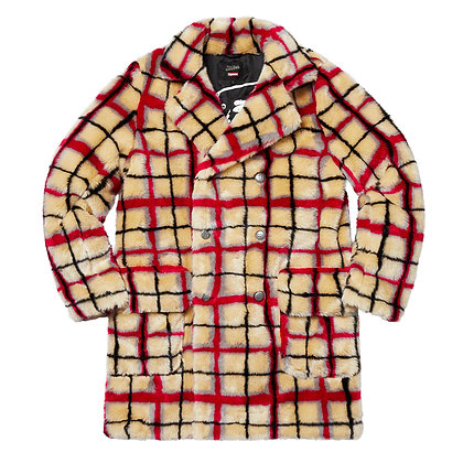 Supreme × Jean Paul Gaultier Double Breasted Plaid Faux Fur Coat