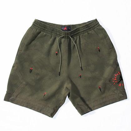 Jordan × Travis Scott / Washed Suede Shorts Olive / Lサイズ