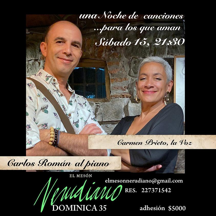 CARMEN PRIETO; LA VOZ y CARLOS ROMÁN en el PIANO