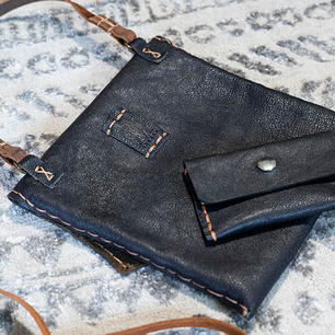 Navy Pebble Leather Crossbody and Card Case