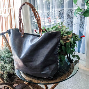 Deep Grey Leather Tote