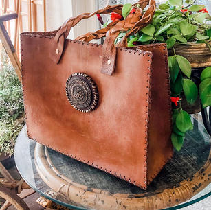 Cowhide Tote with Medallion