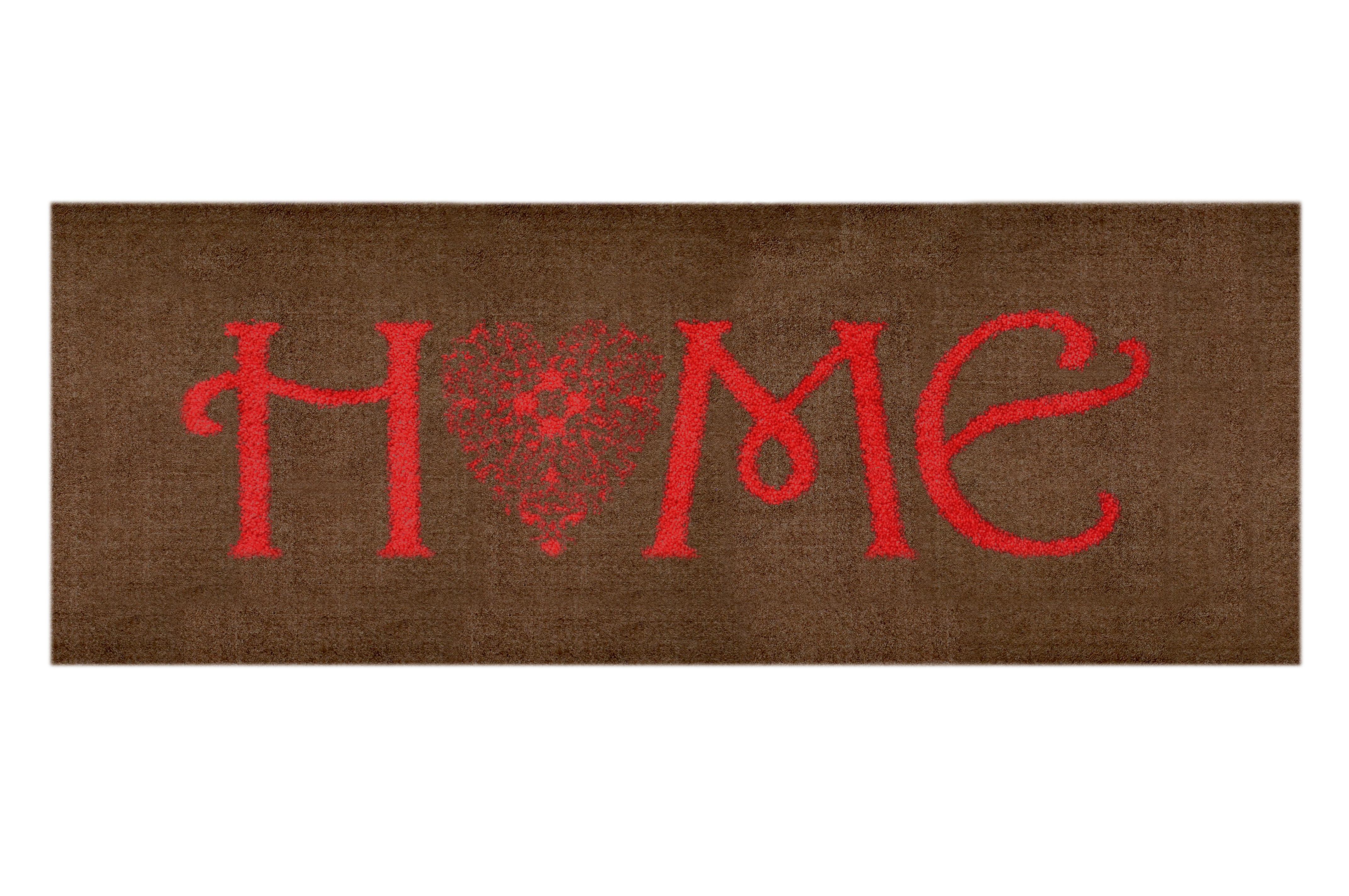 """Teppichläufer """"Home"""" braun/rot"""