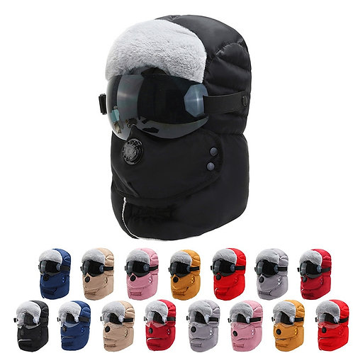 Winter Hood Hat-Unisex-With Goggles! Thermal Warmth-13 Colors
