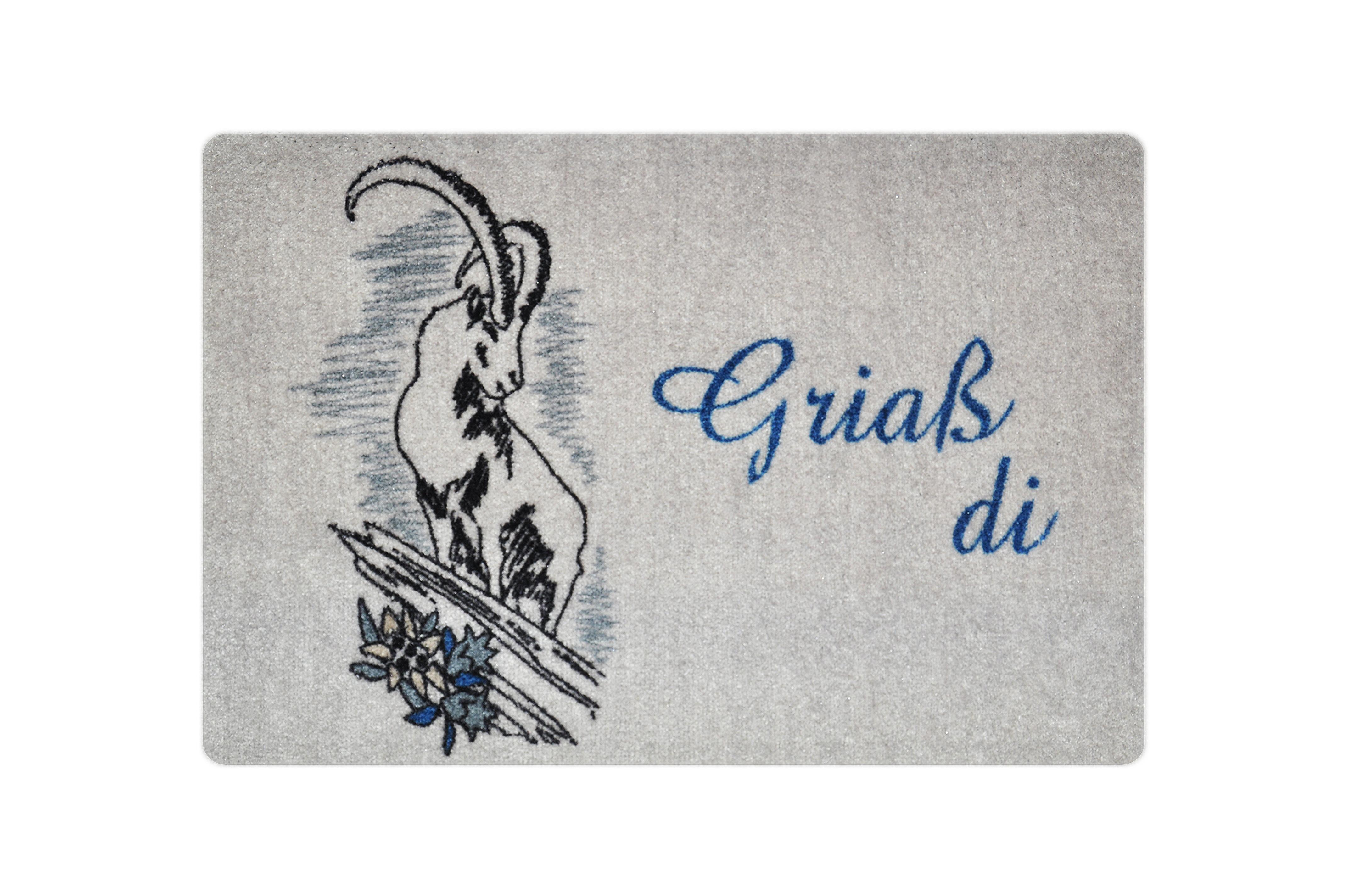 "Fußmatte ""Griaß Di Steinbock"" blau"