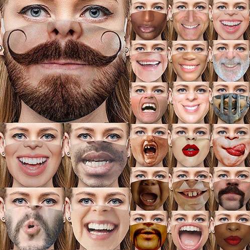 Adult Funny Face  Mask -Mustache-(32) Fun and Funny Varieties-Amaze Your Friends
