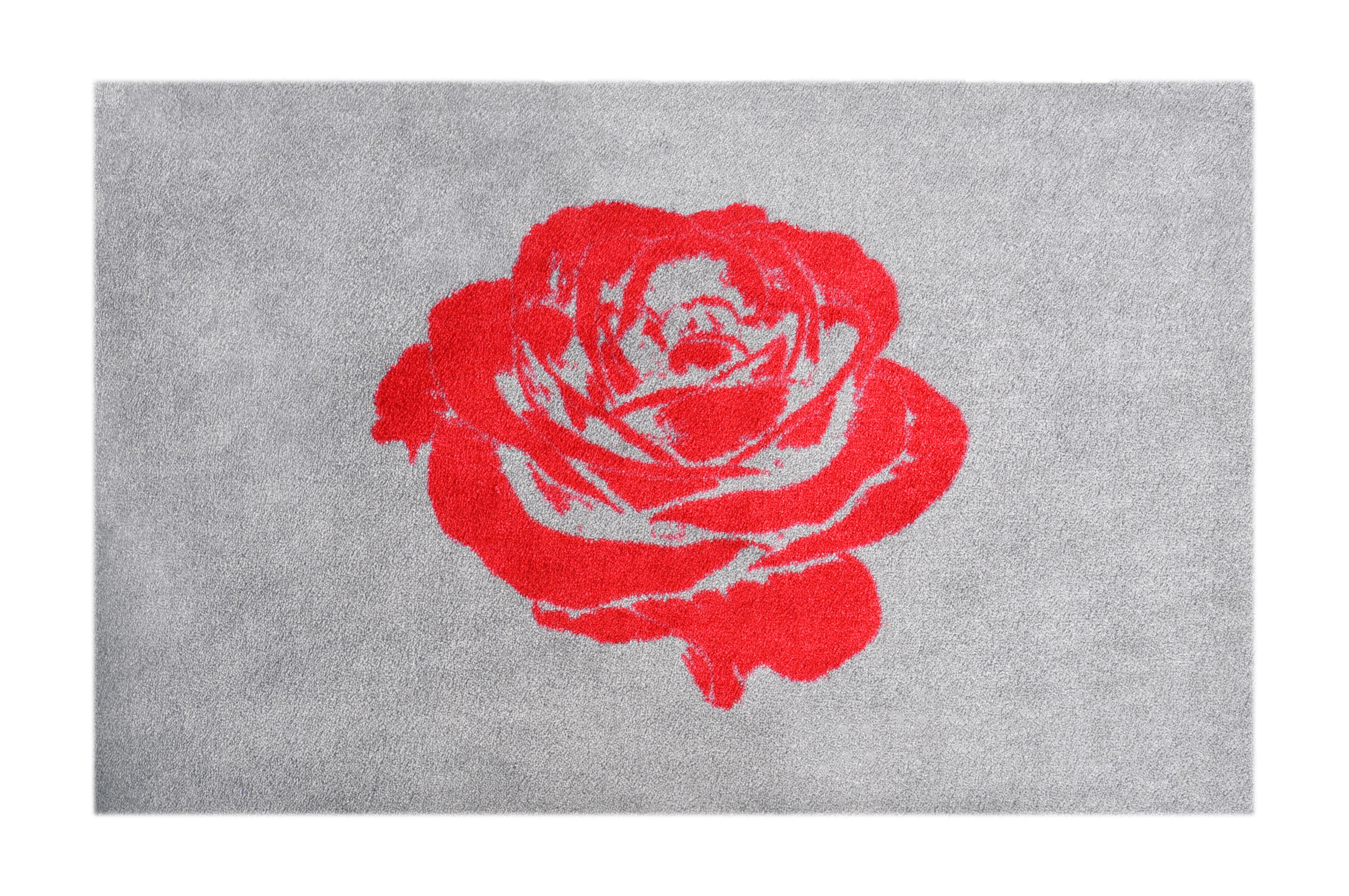 "Fußmatte ""Rose"" rot/grau"