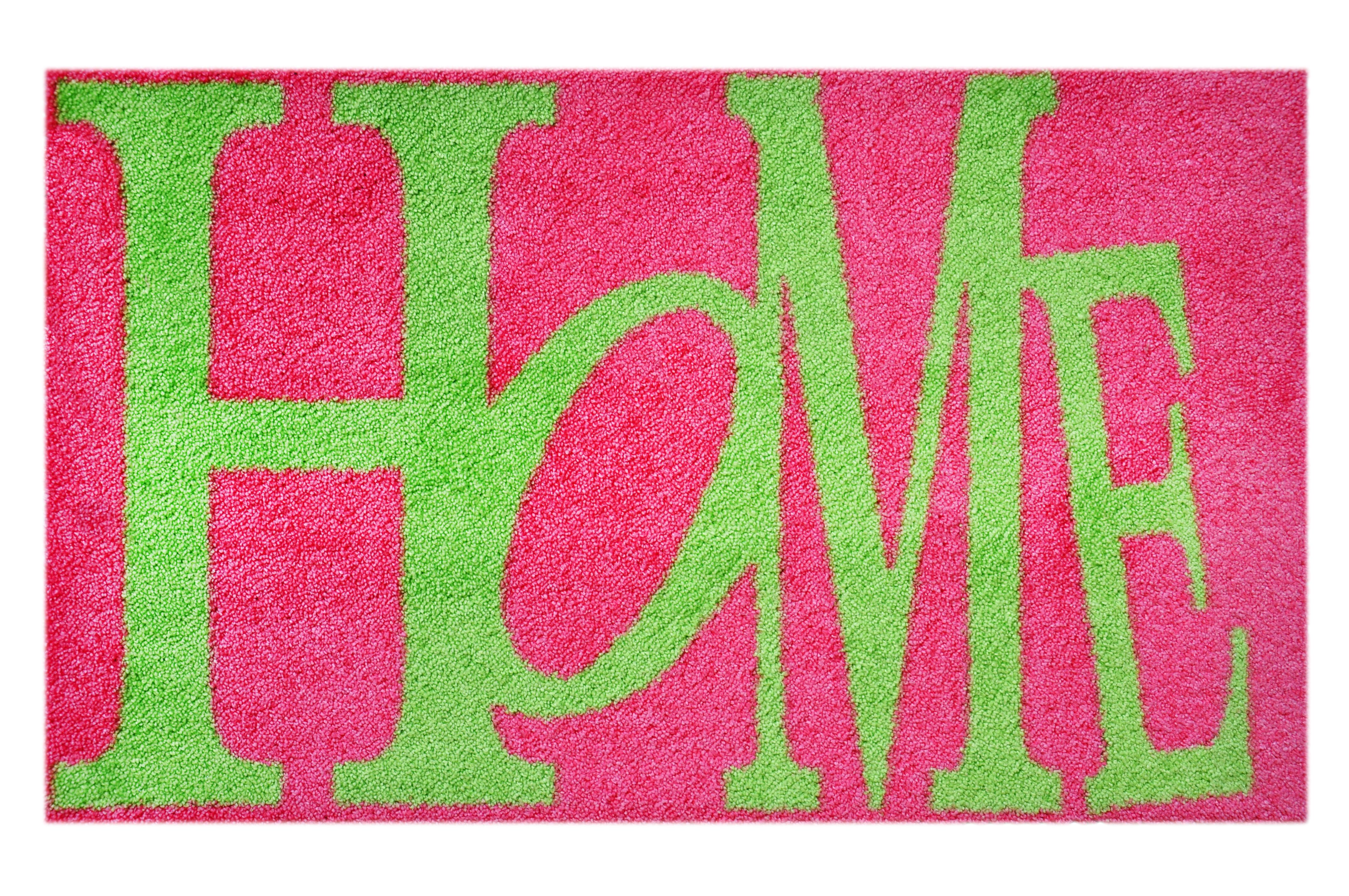 """Fußmatte """"Home"""" pink/grün"""