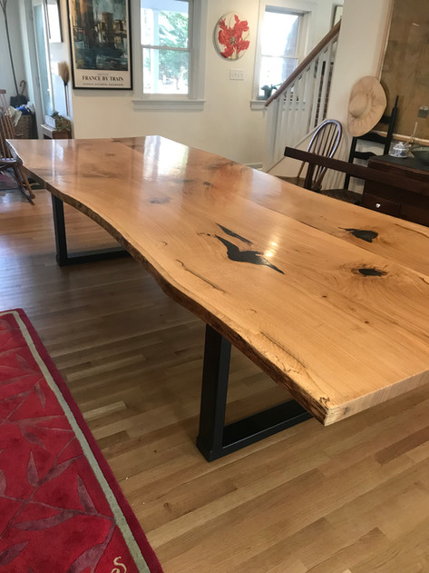 White Oak Table with Welded Metal Base