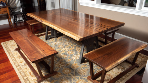 Black Walnut table and benches