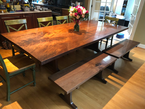 Bookmatched Pair Black Walnut Trestle Table with matching benches