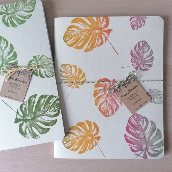 Screen printed multi-tone Monstera Notebooks