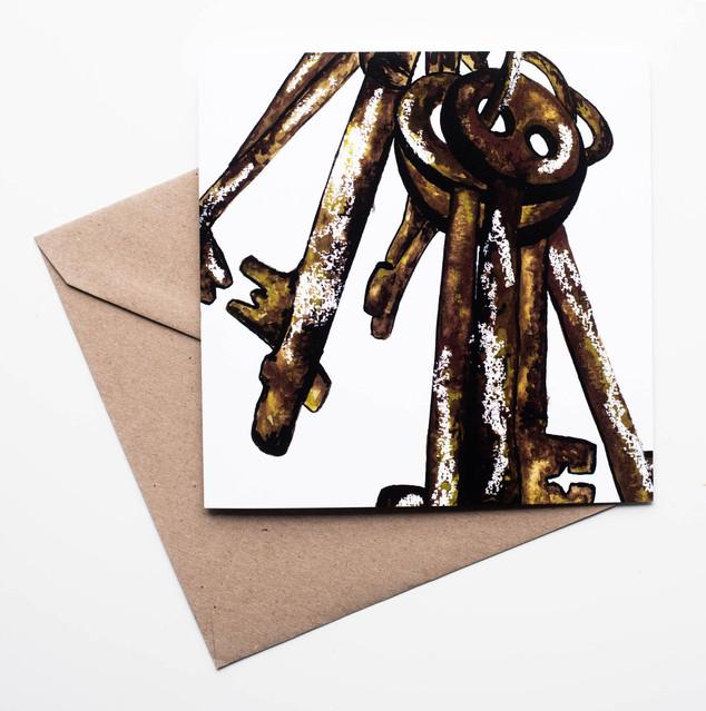 Rustic Keys Greetings Card