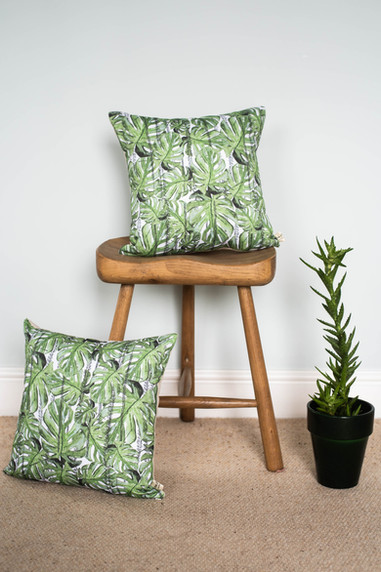 Tropical Monstera Leaf Cushion - Green