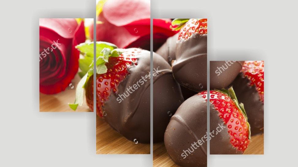 Модульная картина «Клубника в шоколаде»