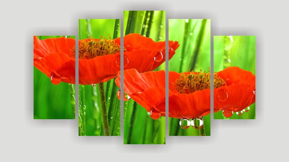 Модульная картина «Маки на лугу»