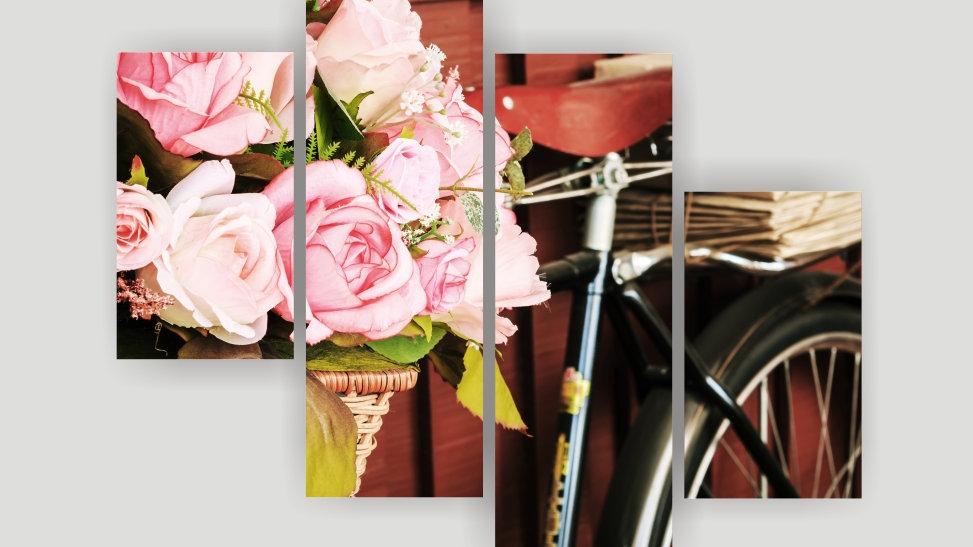 Модульная картина «Розы винтаж»