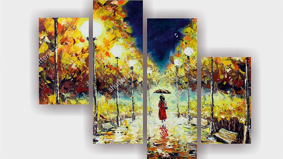 Модульная картина «Прогулка под дождем»