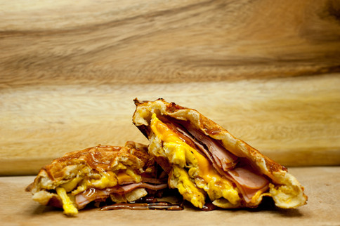 Stuffed Ham, Egg, & Cheese with Syrup