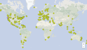 Registered locations of the Global Shorebird Counting, as of today.