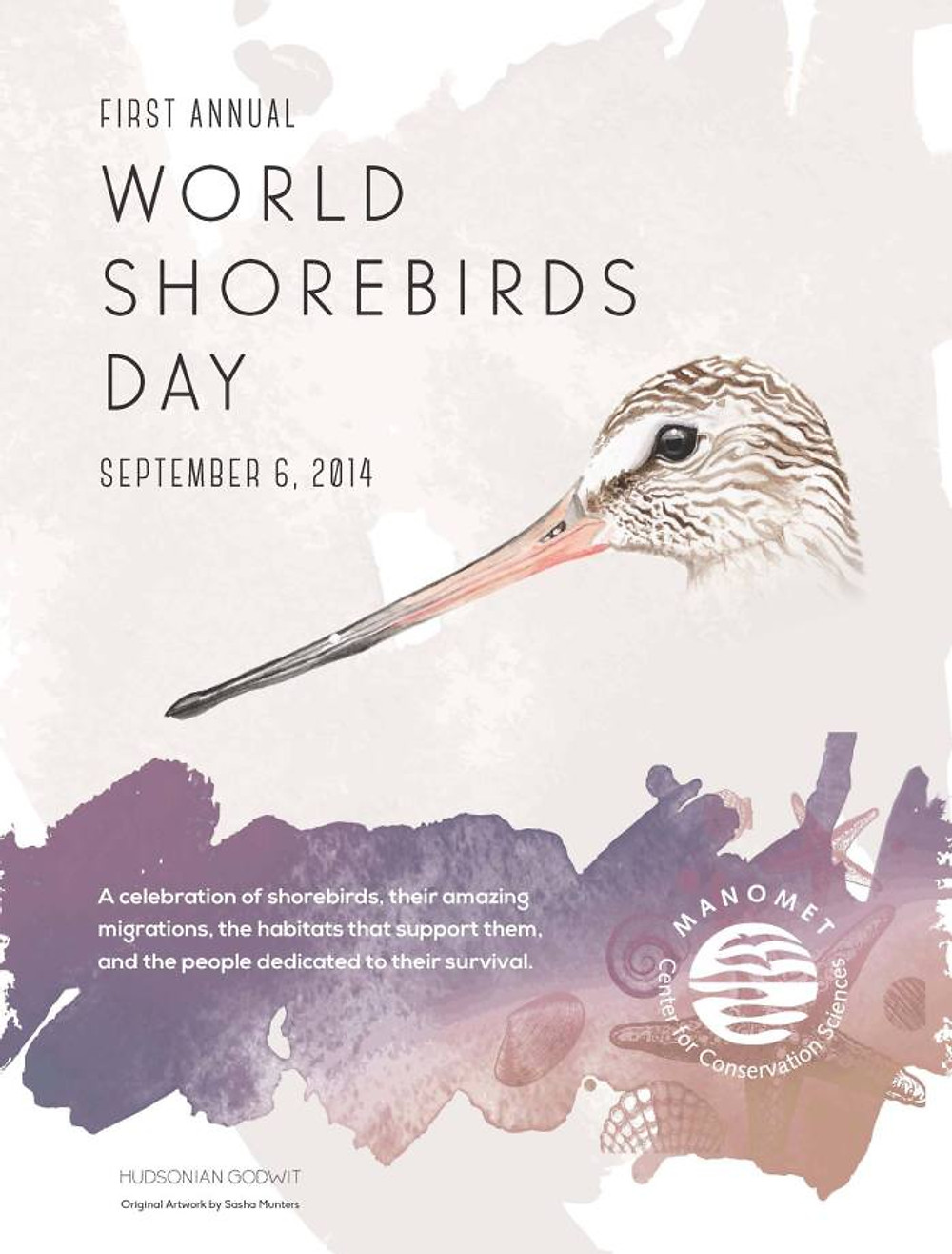 Manomet's poster for the very first World Shorebirds' Day created by Sasha Munters.