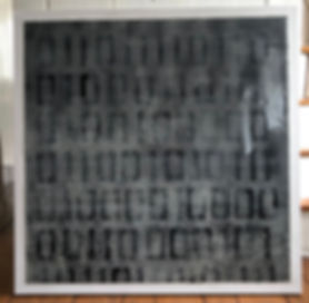 "01101111 01100100 01101001 00100000 01100101 01110100 00100000 01100001 01101101 01101111 (""Odi et Amo"") 36"" x 36"" Acrylic, pencil, chalk and epoxy resin on canvas "