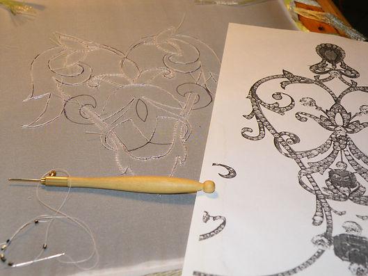 Haute couture embroidery course in Rome and Milan,  tambour embroidery, bead embroidery, silk ribbon.  Corso di ricamo Alta moda